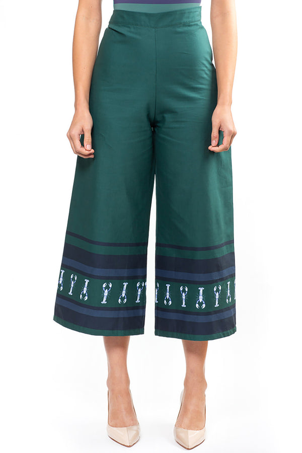 Green Lobster Oriental Cropped Pants