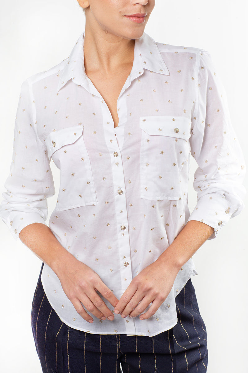 Gabriela Shirt with Gold Embroidery