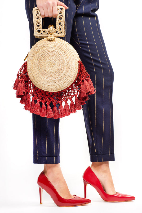 Yoyo Tassels Burgundy Bag