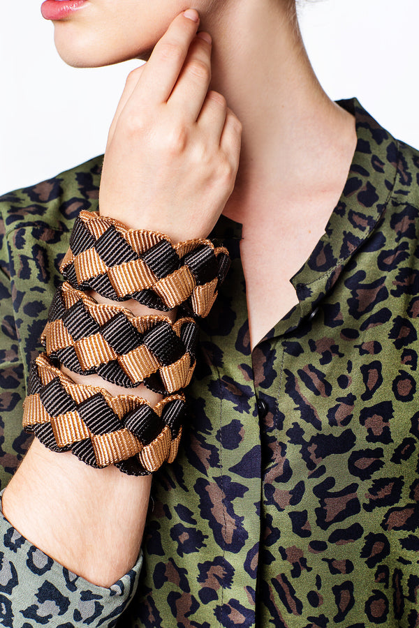 Checkered Bracelet Black Caramel