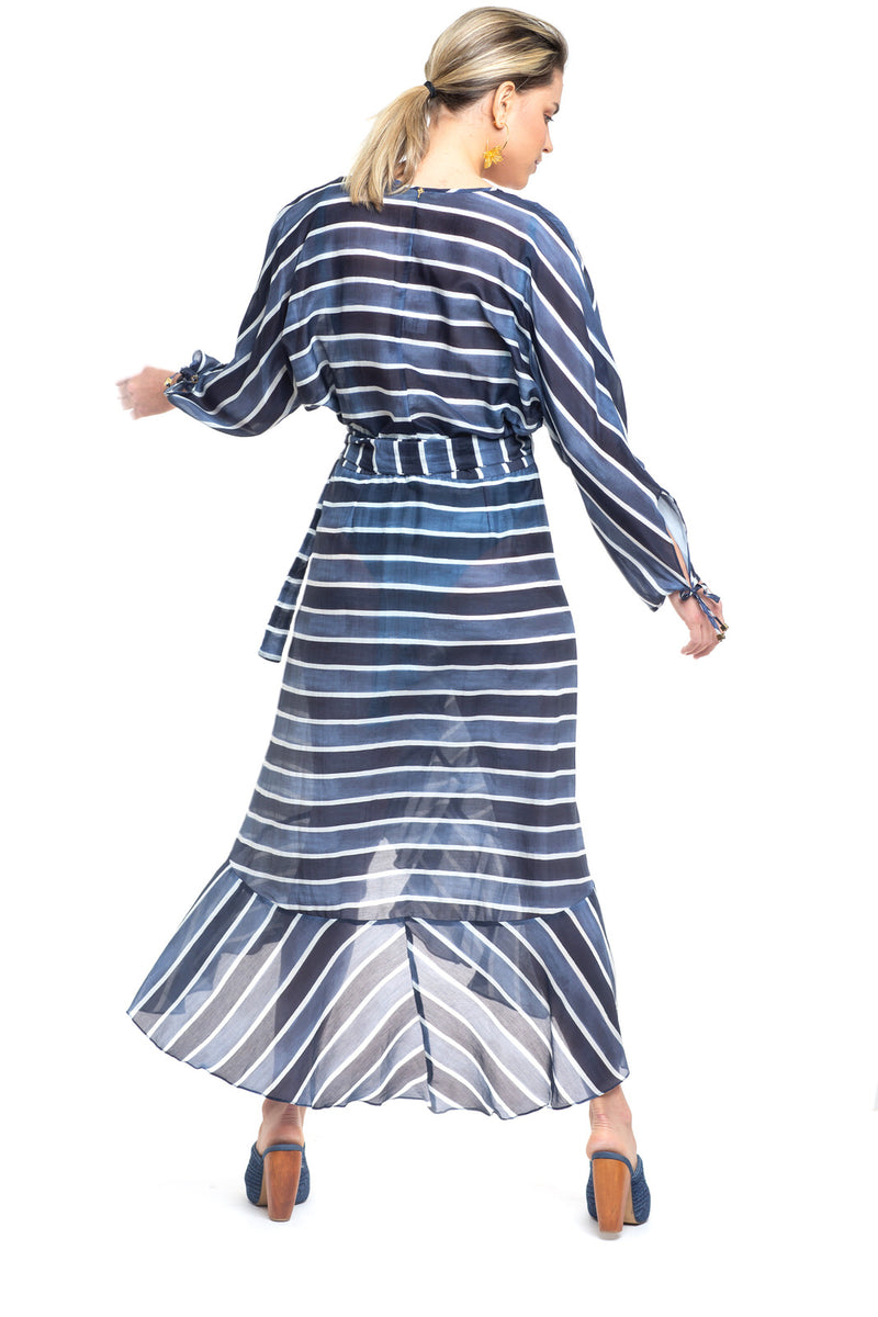 Blue Stripes Wrap Dress Chromata