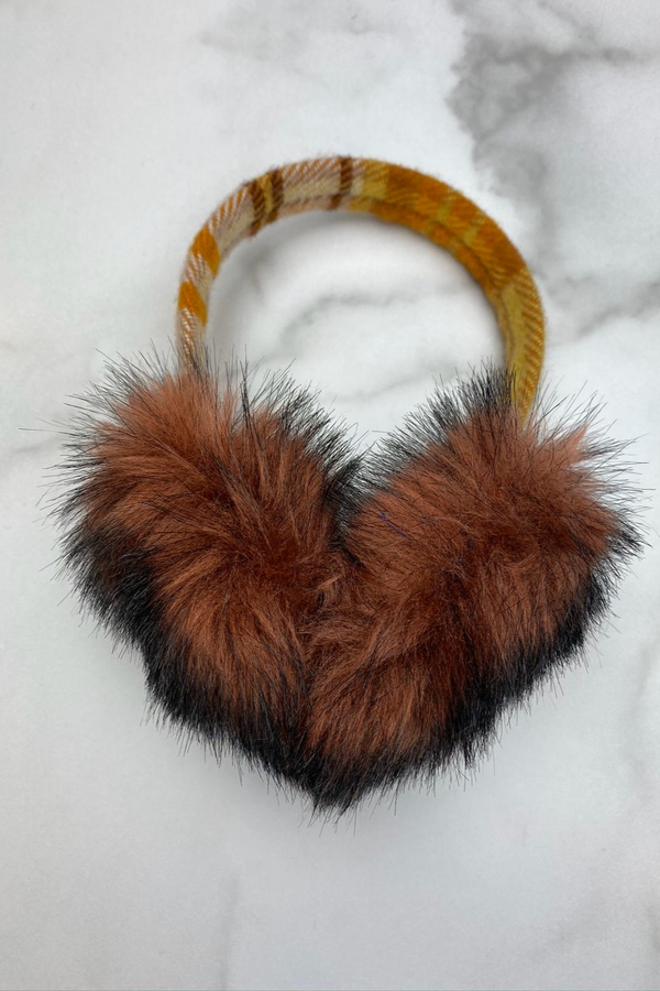 Plaid Earmuff  Mustard and Copper