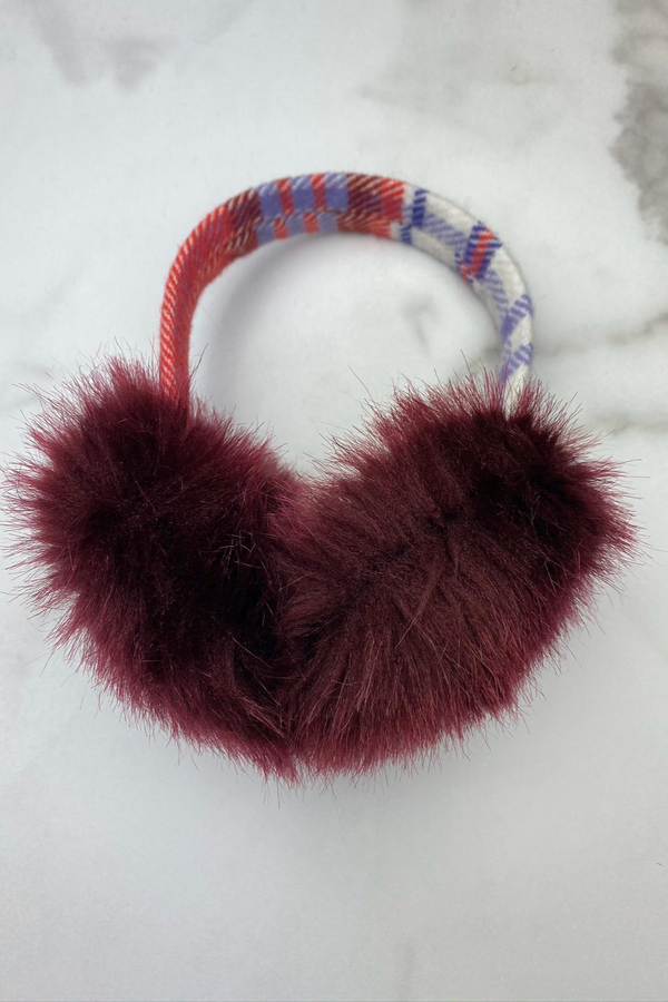 Plaid Earmuff White, Red and Burgundy