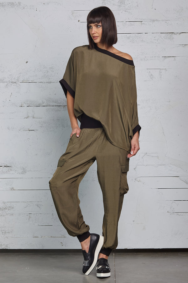 Army Green Silk Cargo Pants