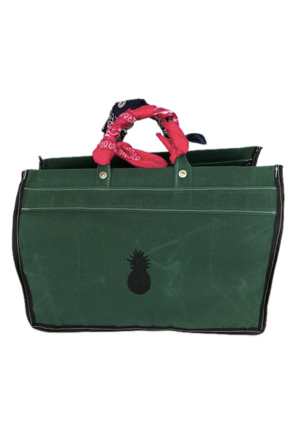 Green Canvas Tote with Bandanas
