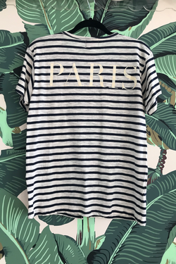 Paris Stripes Top Blue White
