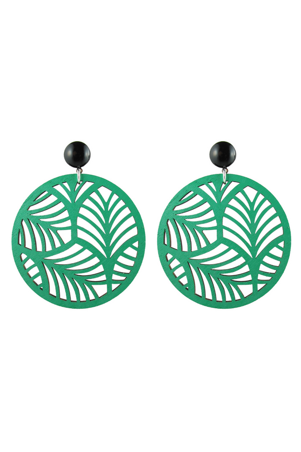 Circle Palm Earrings - Green