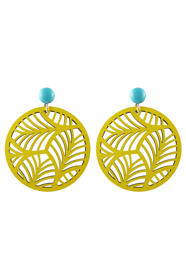 Circle Palm Earrings - Yellow
