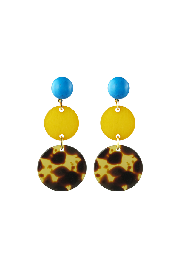 Circle earrings Yellow & Tortoise