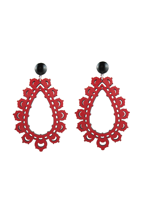 Krina Earrings, Red