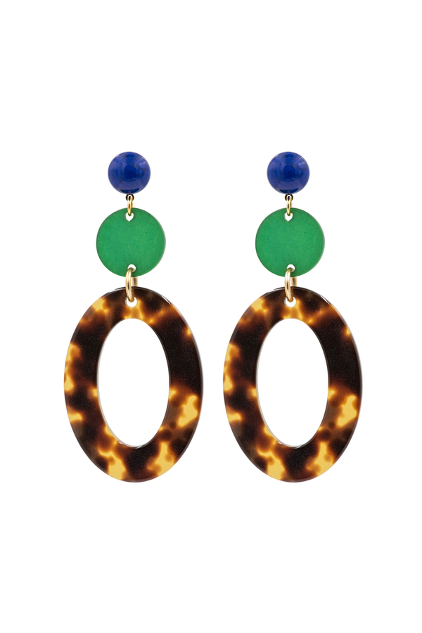Green & Open Oval Earrings