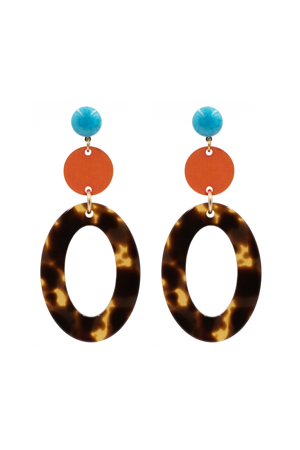 Orange & Open Oval Earrings