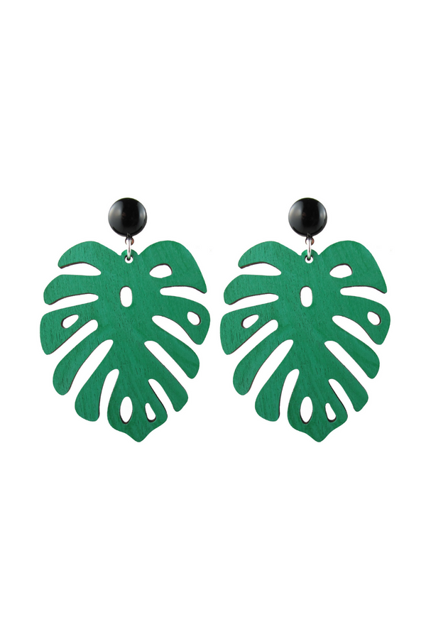 Palm Earrings - Green