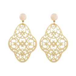 Preeti Earrings Ivory & Rose Quartz