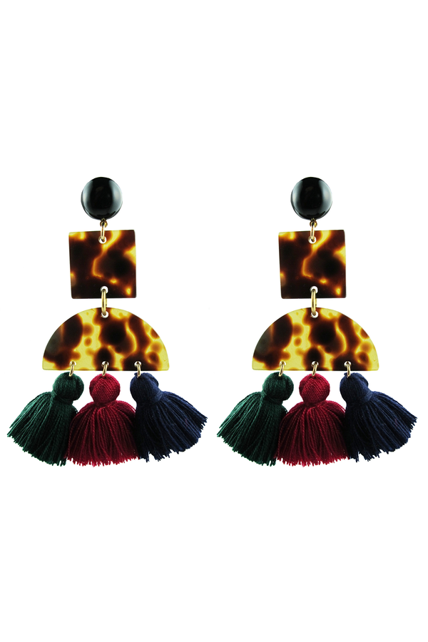 Tortoise & Tassel Earrings Dark