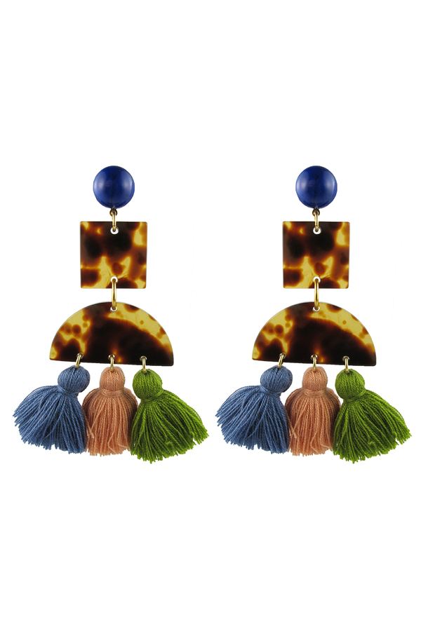 Tortoise & Tassel Earrings Light