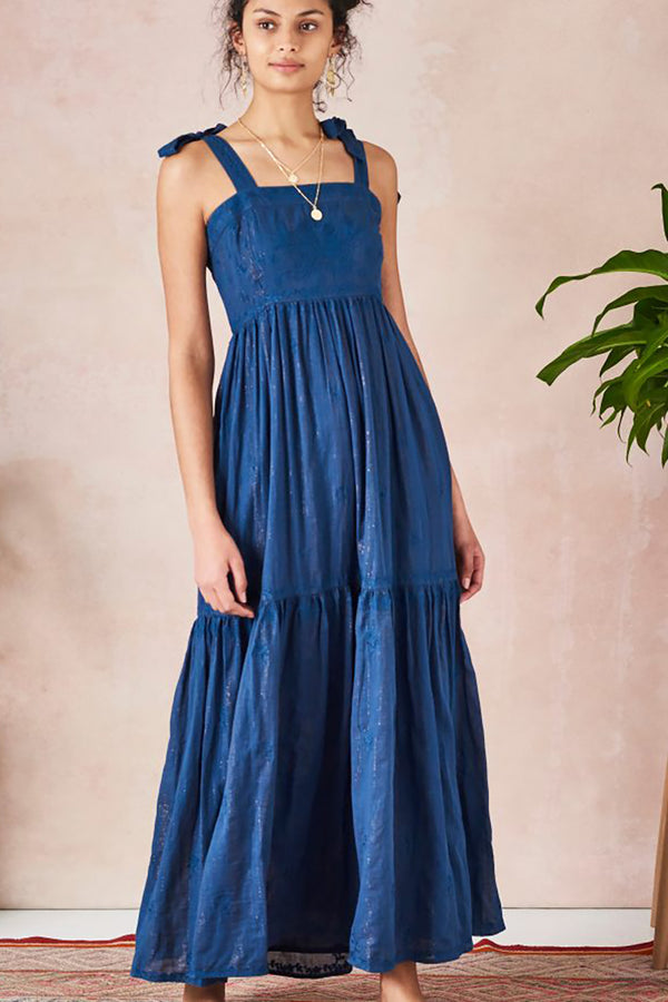 Luana Emb Maxi Dress Navy