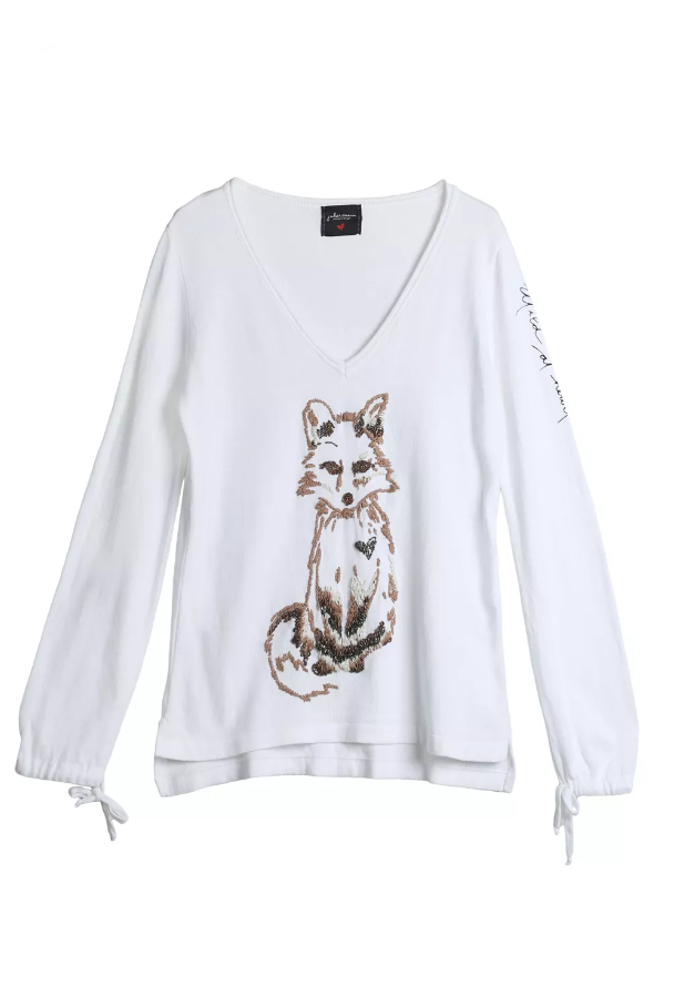 Little Fox Off White Sweater