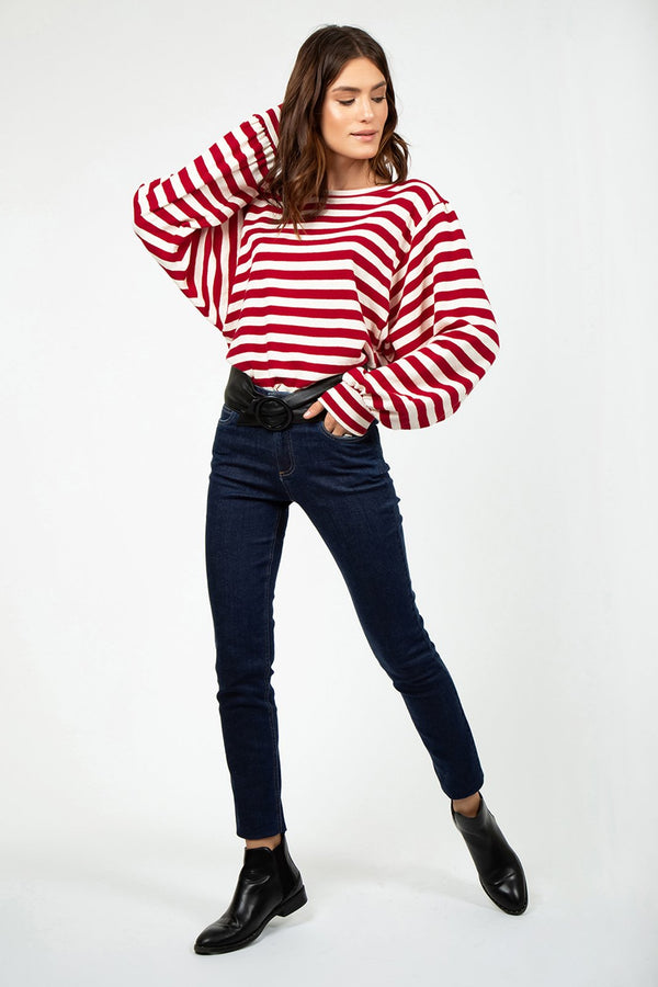 Red Stripes Shirt with Puffy Sleeves