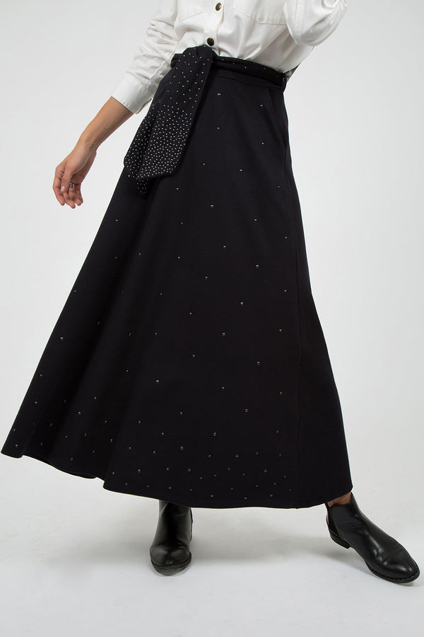 Skirt with Metal Grommets Black