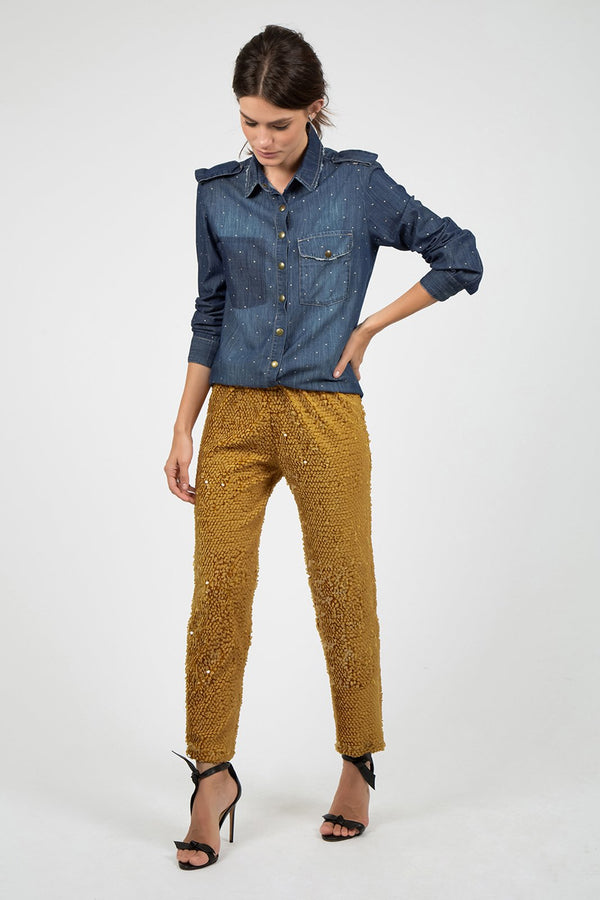 Sequin Pants in Mustard