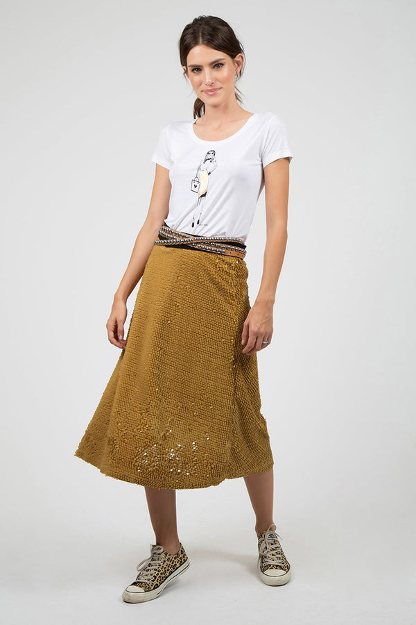 Sequin Skirt in Gold/Yellow