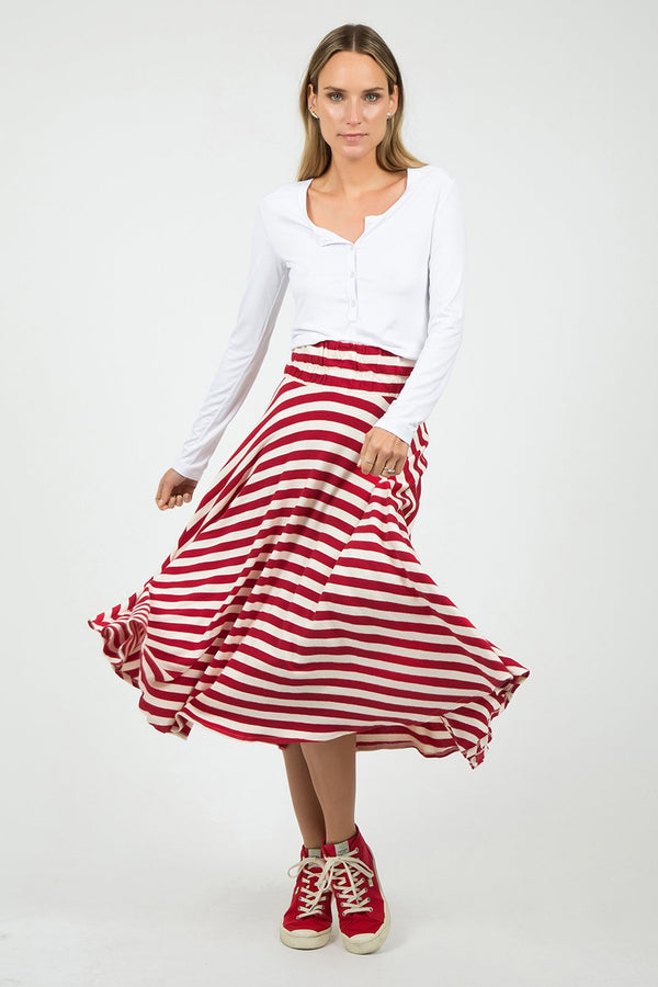 Red Stripes Midi Skirt