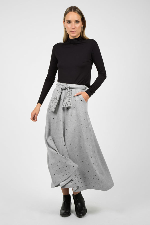 Skirt with Metal Grommets Grey