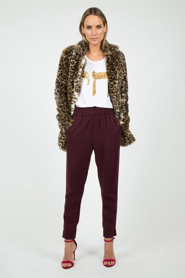 Sequin Pants in Burgundy