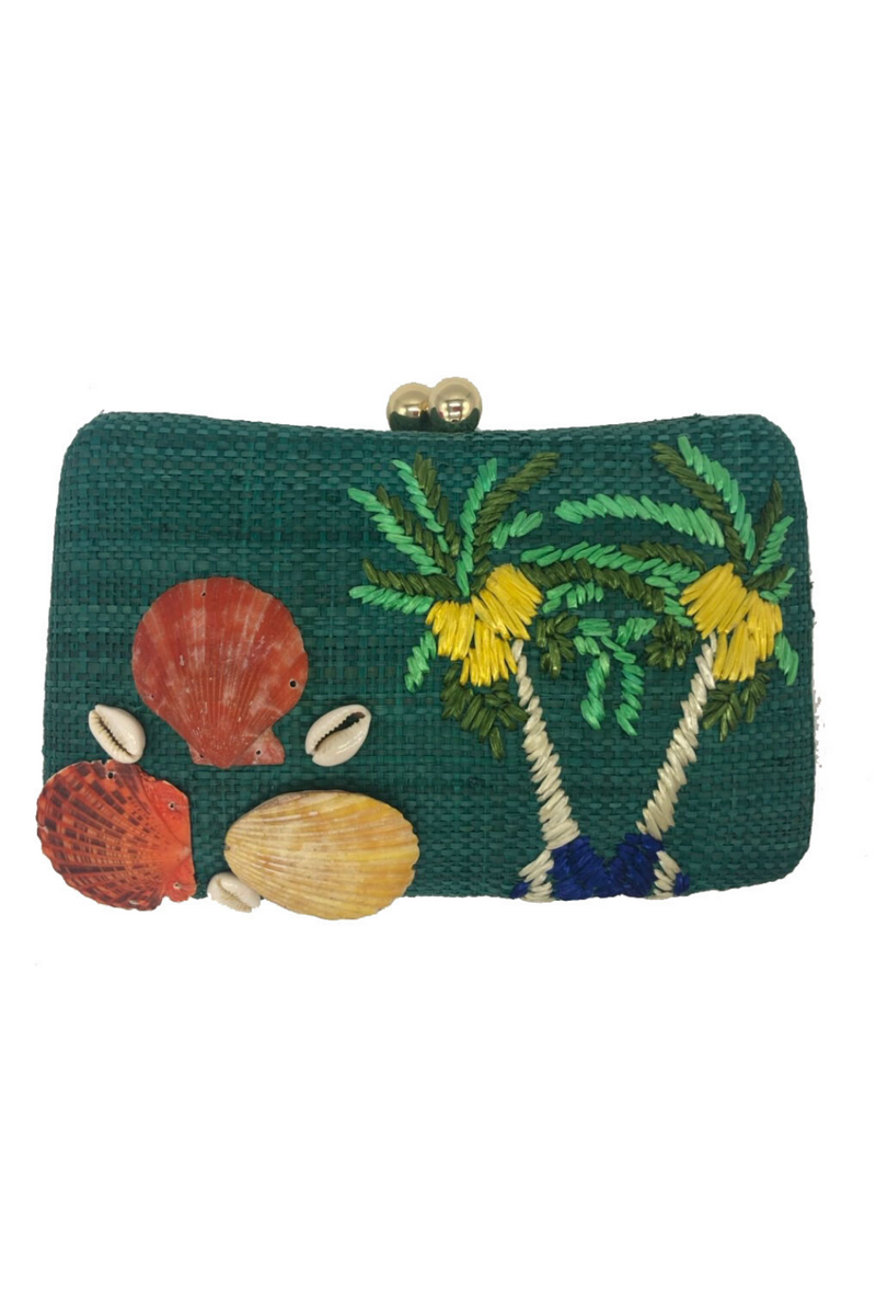 Marissa Coconut Tree Clutch Teal