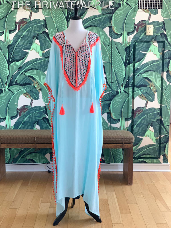 Medina Long Kaftan - Acqua with Orange & Teal Detail
