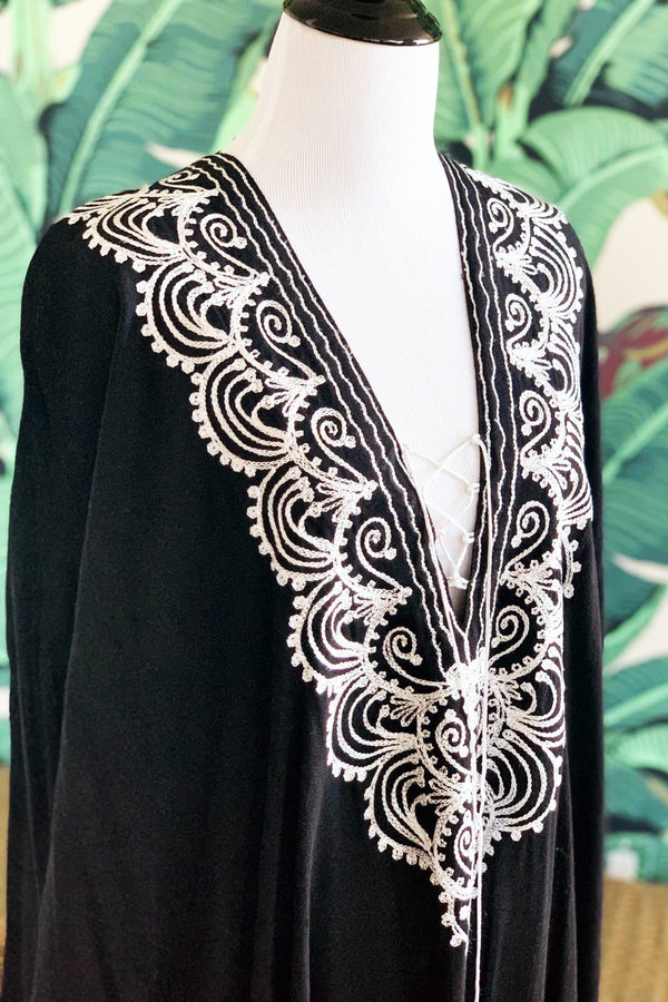 Moroccan Long Kaftan - Black with White Detail