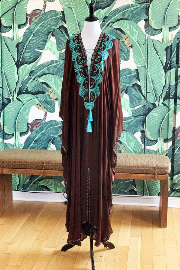 Moroccan Long Kaftan - Chocolate with Acqua Detail