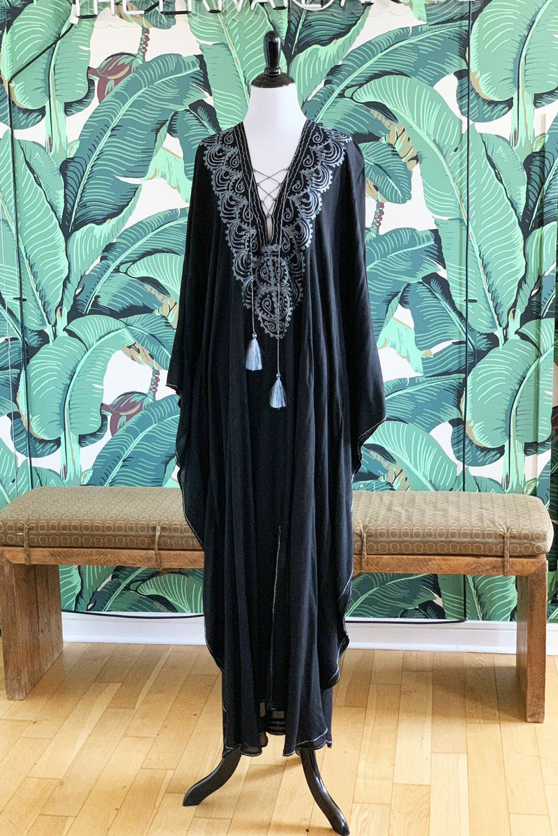 Moroccan Long Kaftan - Black with Gray Detail
