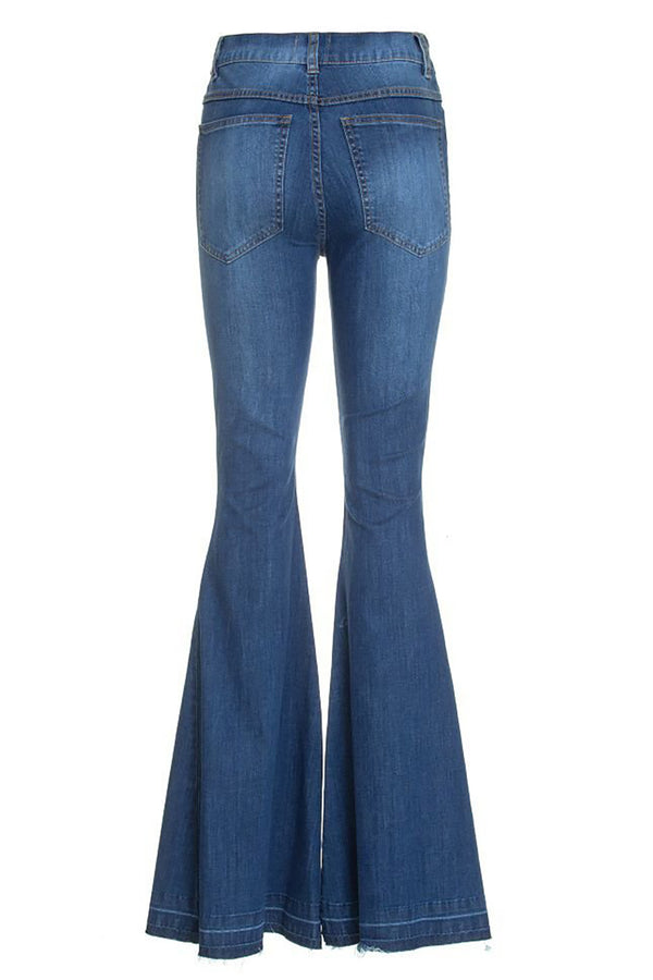 High Waist Denim Flare Pants