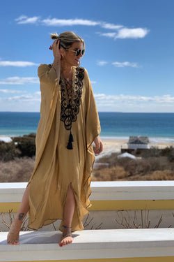Moroccan Long Kaftan - Tan with Black