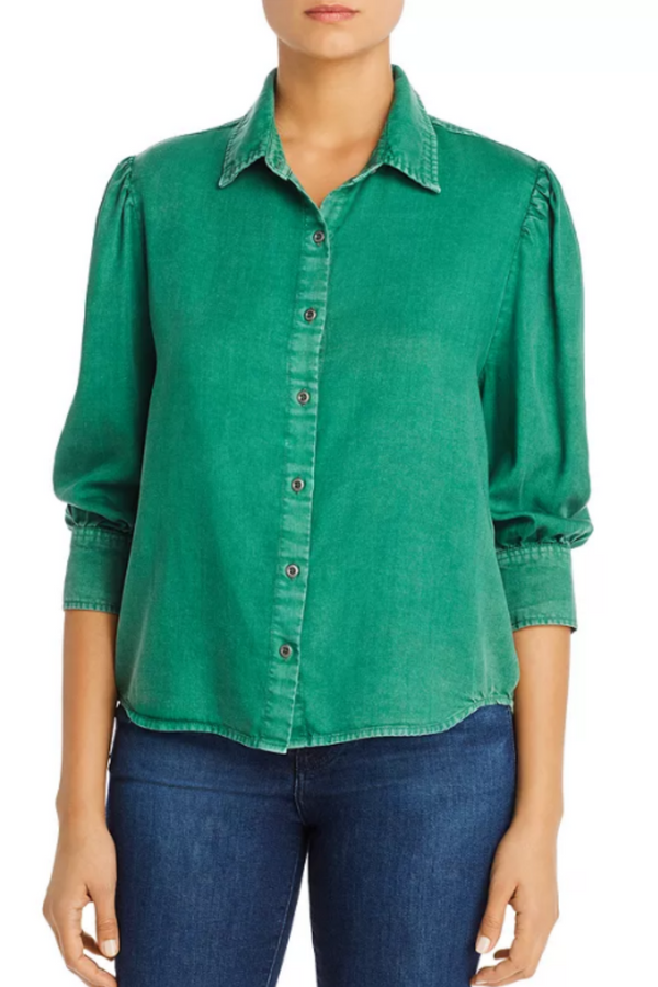 Pine Chambray Pleat-Shoulder Shirt