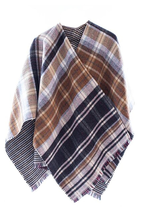 Plaid Poncho Natural