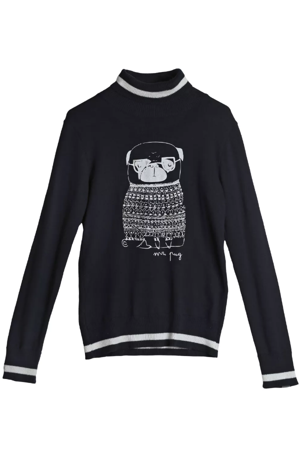 Pug Sweater Navy