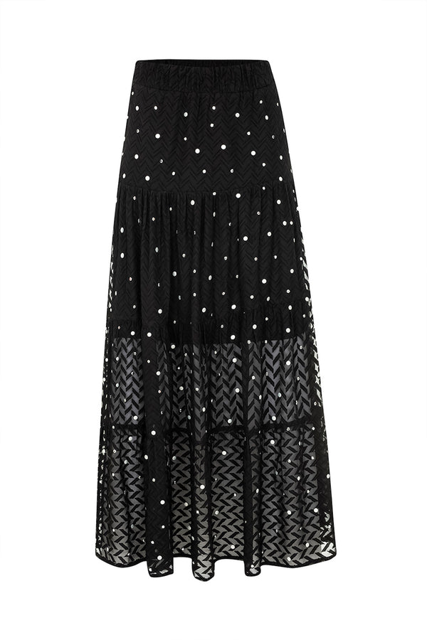 Ruffled Long Skirt Black