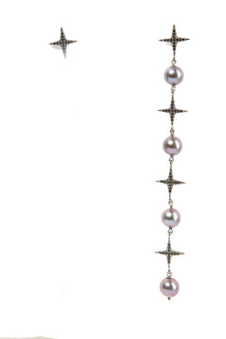 Freshwater Pearls Asymmetrical Earrings - 4 Black Pearls