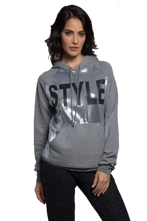 Style Sequined Sweatshirt Grey
