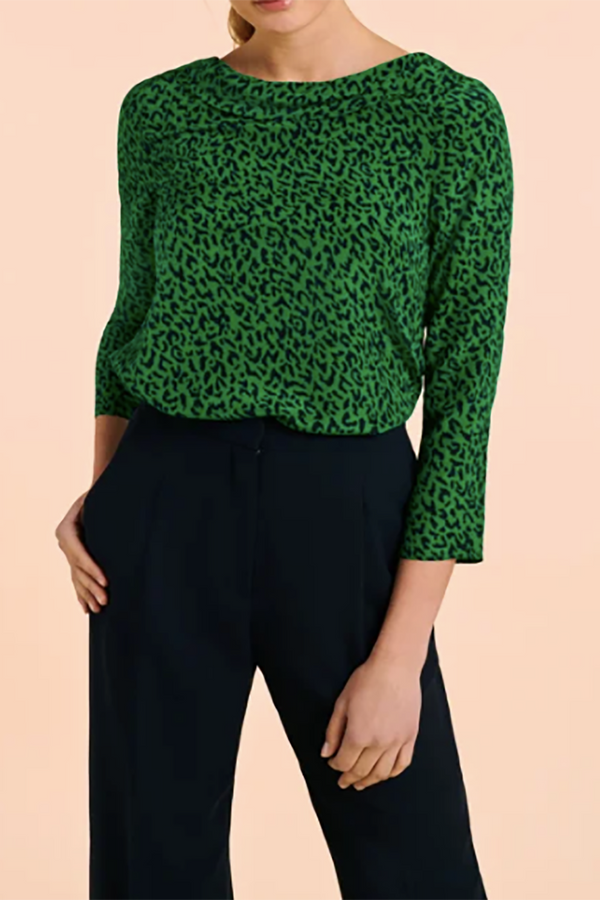Thelma Top Green Leopard