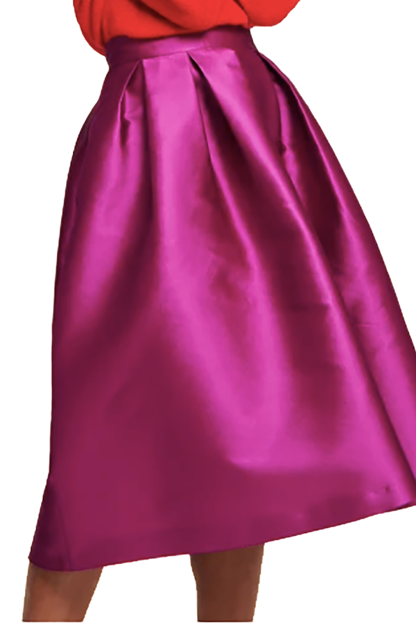 Skirt in Duchess Satin Aubergine