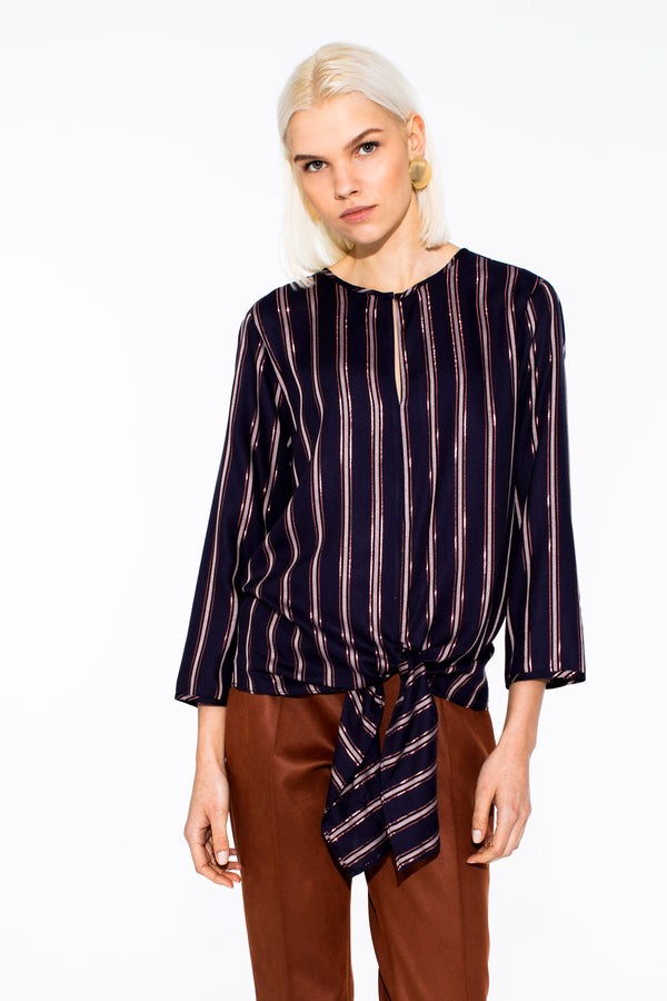 Ava Navy Glitter Stripes Shirt