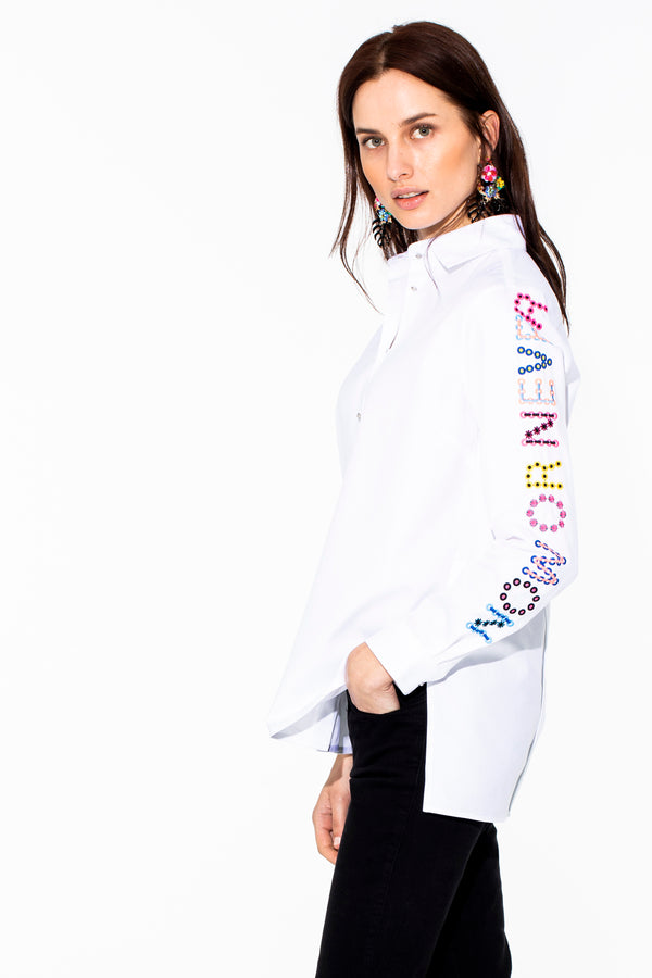 Dover Shirt with Embroidery White