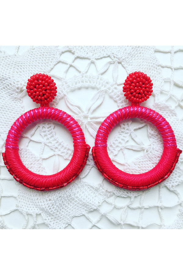 Luxe Hoop Pink & Red Earrings