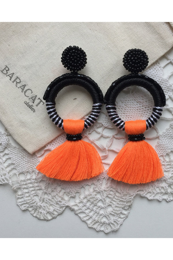 Crochet Neon Earrings Black White & Orange