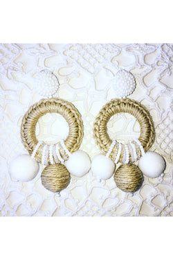 Pompom Naturalle White Earrings