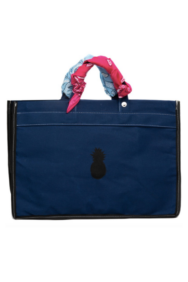 Navy Canvas Tote with Bandanas